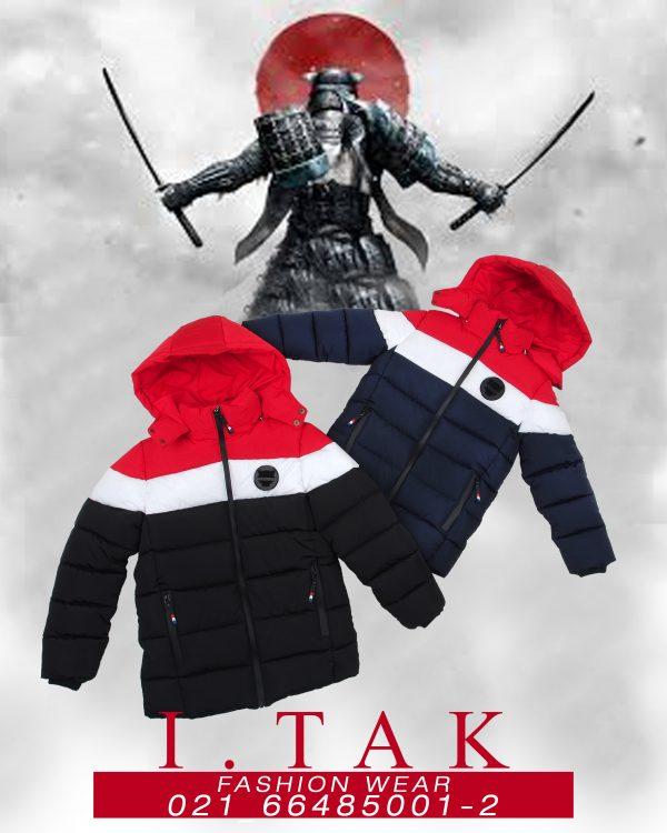 كاپشن پسرانه پرچمي كلاه نقاب دار پسرانه كاپشن زمستان 99