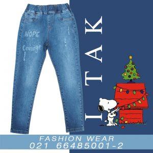 شلوارلي دخترانه دوركش چاپ هوپ دخترانه شلوار جین زمستان 99