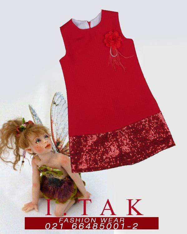 سارافون طرح لوزي پولكي لباس مجلسی دخترانه زمستان 99