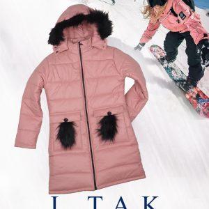 كاپشن بلند دخترانه جيب خزدار کاپشن دخترانه زمستان 1400