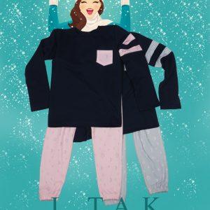 بلوز شلوار راحتي چاپ ماه و ستاره کارهای ست دخترانه زمستان 1400